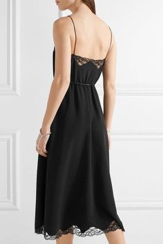 Alexander Wang | Lace and satin-trimmed crepe midi dress | NET-A-PORTER.COM