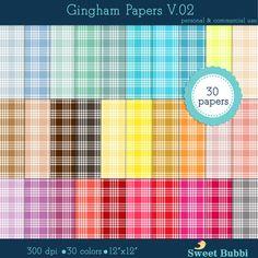 DOLLAR SALE - 30 gingham digital paper V.02 scrapbooking printable rainbow colors pastel neutral bright color plaid pattern Instant download