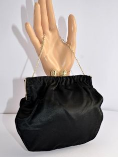 7c3c633e8d5b Vintage 50s 60s black satin framed evening bag ornate kiss lock clasp hand  made