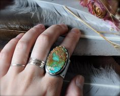 Grand Manassa Turquoise Southwest Silver Ring by TheStrayArrow