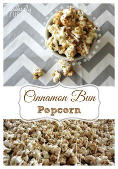 Easy and quick cinnamon bun popcorn recipe! This homemade cinnamon bun popcorn tastes like a gourmet popcorn you would buy. Perfect for a holiday treat or gift! Candy Popcorn, Flavored Popcorn, Gourmet Popcorn, Microwave Popcorn, Popcorn Snacks, Baked Popcorn Recipe, Sweet Popcorn Recipes, Popcorn Shop, Sweets