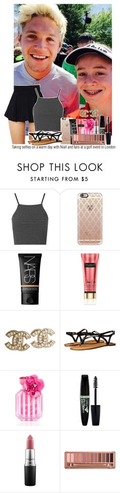 """""""Taking selfies on a warm day with Niall and fans at a golf event in London"""" by marissaackles997 ❤ liked on Polyvore featuring Topshop, Casetify, NARS Cosmetics, Chanel, Fergalicious, Victoria's Secret, Rimmel, MAC Cosmetics and Urban Decay"""