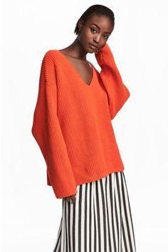 Pullover in maglia a coste - Arancione - DONNA   H&M IT 1