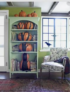 Bookcase fall thanksgiving decorations living room