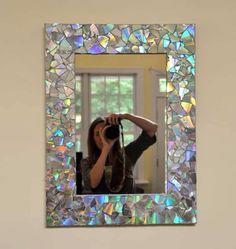 Espejo decorado con cds