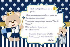Convites de Chá de Bebê ursinho com fundo azul escuro