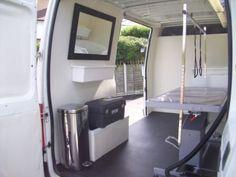 -repinned- Interior, mobile dog grooming van.