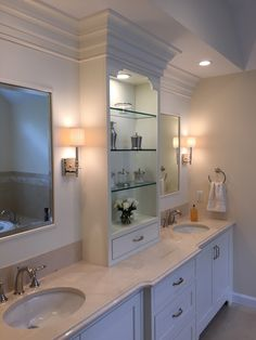 Bathroom remodel in North Andover, MA. His and hers vanity. Michael James Design, Inc. North Andover, Kitchen And Bath Design, Wet Bars, Marble Countertops, New Construction, Double Vanity, Baths, Ranch, Mirror