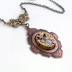 Steampunk Necklace Handmade Jewelry - Time Lost - Steampunk Pendant   $48