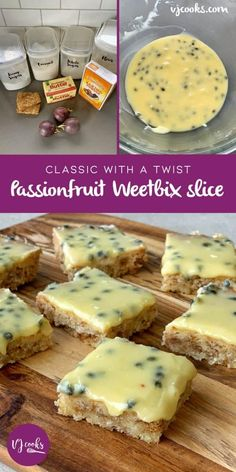 A twist on the Kiwi classic, this melt and mix recipe has a chewy baked coconut and weetbix base. Topped with a delicious passionfruit icing. Baking Tins, Baking Recipes, Cake Recipes, Dessert Recipes, Kiwi Recipes, Dinner Recipes, Passionfruit Slice, Passionfruit Recipes, Biscuit Cake