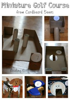 A nine hole miniature golf course made from cardboard boxes. A great way to keep kids entertained while they're stuck inside and a fun way t...