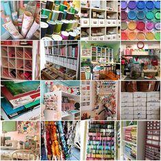 Craft rooms galore! 1. The Posie studio, repainted & reorganized,   2. threads, 3. Studio Organization,   4. paintbox, 5. Orders Sorted,   6. organized bookshelf, 7. indie vintage craft room, 8. workbench,   9. paper, 10. The Posie studio,   11. above the desk, 12. corner,   13. Studio: Sewing Machine, 14. Pencils In A Jar, 15. ribbon holder, 16. craft room