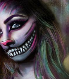 #halloweenmakeup look - Cheshire Cat | IG: @beauty.x.jenna #halloween #halloweenmakeup #makeupideas #halloweenmakeupideas #motd