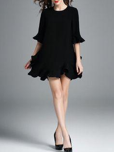 Black Half Sleeve Plain Mini Dress