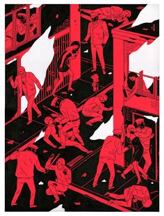 Through an essential palette reduced to black & white or red & black tones, Cleon Peterson depicts acts of violence and abuse iterated to the point of becoming almost pattern-like. His most famous works are bidimensional paintings on large scale walls which include stylized characters playing...