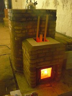 Rocket Mass Heater with visible flames