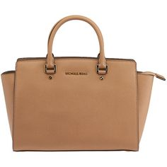 Pre-owned Michael Michael Kors Selma Tan Leather Tote ($299) ❤ liked on Polyvore featuring bags, handbags, tote bags, accessories, michael kors purses, zippered tote, leather purse, tote handbags and leather zip tote