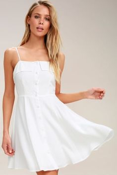 58cce71f7c Sweet Destiny White Button-Front Skater Dress Cute White Dress
