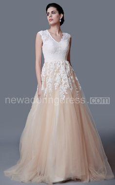 Gorgeous Cap Sleeve Lace Appliqued A-line Gown - Newadoring Dress