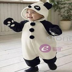 Panda Costume Style Romper suit onesie for toddlers with paw hands and hood | Youngsies