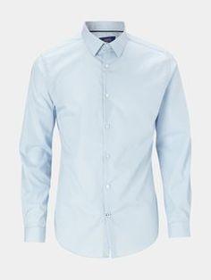 Slim Fit Plain Blue Shirt