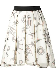 White silk cotton printed skirt from Eggs featuring a waistband, a rear zip fastening, a layered design, a graphic print and a short length.