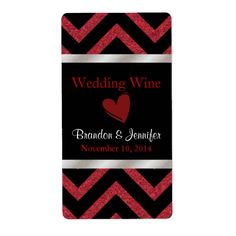 Black and Red Chevron Wedding Mini Wine Labels would be perfect for a Valentines Day wedding!
