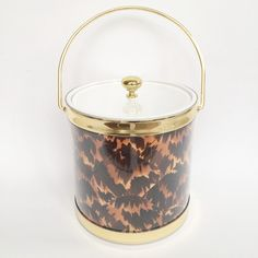 Faux Tortoise Shell Ice Bucket, perfect addition to any bar cart