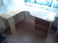 Shelves as desk legs Woodworking Table Saw, Woodworking Desk Plans, Woodworking Joints, Woodworking Apron, Woodworking Logo, Woodworking Machinery, Woodworking Videos, Room Additions, Built In Desk