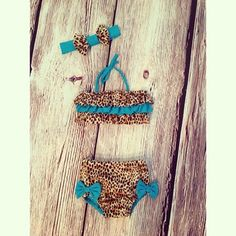 @islas_closet custom baby bikini. Ruffle leopard swim suit.