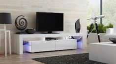 Concept Muebles TV Stand Milano 200 / Modern LED TV Cabinet/Living Room Furniture/Tv Cabinet fit for up to TV Screens/High Capacity Tv Console for Modern Living Room (White & White) Modern White Living Room, White Rooms, Living Room Modern, Modern Wall, Small Living, Modern Contemporary, Modern Luxury, Modern Tv Unit Designs, Modern Tv Units