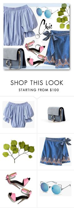 """""""Beautiful in blue!"""" by edy321 ❤ liked on Polyvore featuring Dot & Bo, Giuseppe Zanotti, Summer, denim, skirt and Genuine_People"""