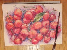 Watercolor pencils cherry art.