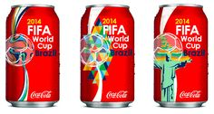 "Project 2 ""Packaging Design"" A redesign of the Coca-Cola branding using a specific topic or event to promote, which is translated into a three on-can graphic series. These cans are advertising for the 2014 FIFA Brazil World Cup, and in each the iconic Coke wave is being incorporated within the vector designs, each representing a different element of Brazil or the event itself. Vibrant colors and eye-catching type are also combined."