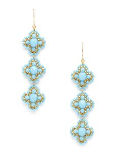 Turquoise Triple Flower Drop Earrings by Miguel Ases at Gilt
