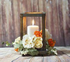 Rustic Wood Candle Lantern wedding jar lanternrustic