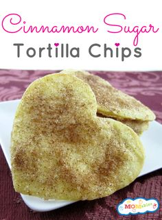 These baked cinnamon sugar heart shaped tortilla chips are so delicious and easy to make! A yummy snack and great to add in the lunch box!