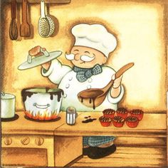 quenalbertini: Chef in work Chef Pictures, Print Pictures, Chef Kitchen Decor, Kitchen Art, Indian Food Menu, Decoupage Printables, Recipe Scrapbook, Cafe Art, Le Chef