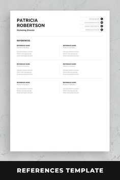 Professional resume template set with one-page and two-page resume designs with matching cover letter and references sheet for a complete and consistent presentation. Creative Cv Template, One Page Resume Template, Modern Resume Template, Resume Templates, Cover Letter For Resume, Cover Letter Template, Cover Letters, Good Resume Examples, Resume Ideas