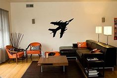 Military Fighter Jet Airplane Silhouette Vinyl Wall Decal Sticker Measures 32 x 48 inches. Application instructions are included. Some decals may come in multiple pieces due to the size of the design.