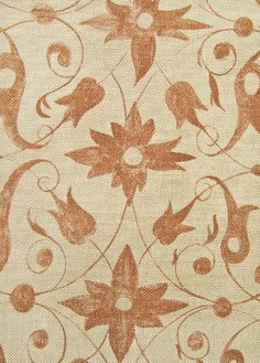 Saffron Walden Linen Fabric Neutral  loose weave Linen Fabric with floral scroll design in Ochre. Suitable for Curtains and Domestic Upholstery.