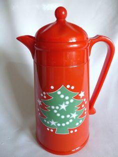 Waechtersbach Christmas Tree Thermal Vacuum Carafe By AK Das 1 Liter Red Green #Waechtersbach