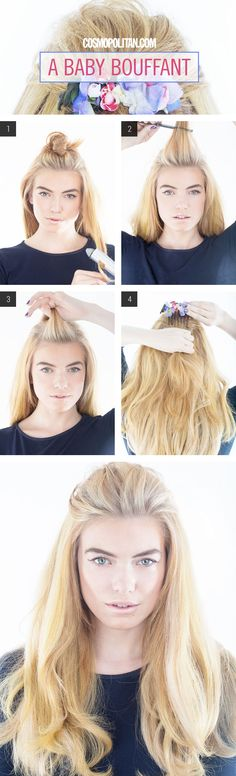 Baby Bouffant How-To - Teased Half-Up Hairstyle Tutorial - Cosmopolitan