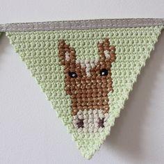SnapWidget | Crochet bunting with cross-stitch. #handmade #bunting #crochet #thefoxintheattic #horse
