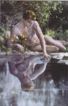 Upon seeing his reflection in a pool of water, Narcissus is so entranced that he forgets to eat or sleep, slowly dying of self-neglect. Echo, ever loyal, echoes his cries of pain with her own. At last, rather than seeing such beauty lost, the gods transform the boy into a flower, the narcissus.