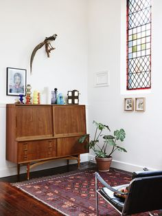 A converted church is decorated with vintage treasures.