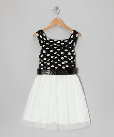 Take a look at this Black & White Polka Dot Belted Dress by Elisa B. on #zulily today!