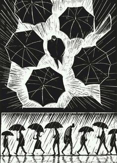 A Novel in Pictures - Eric Drooker Gravure Illustration, Illustration Art, Lino Art, Illustrator, Arte Black, Scratchboard Art, Graphic Novel Art, Linoprint, Art Graphique
