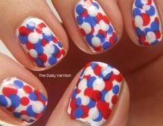 Patriotic Polka Dots- red, white, and blue Patriotic Nail Art Hot Nails, Hair And Nails, Dot Nail Designs, 4th Of July Nails, July 4th, Nail Art, Fabulous Nails, Holiday Nails, Blue Nails