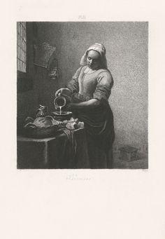 Johann Wilhelm Kaiser (I) | Het melkmeisje, Johann Wilhelm Kaiser (I), 1823 - 1900 | Een melkmeisje schenkt melk in een kom. Rechts van haar een venster. De prent maakt deel uit van een serie van 25 prenten naar Hollandse meesters. Boven de afbeelding: PL III.